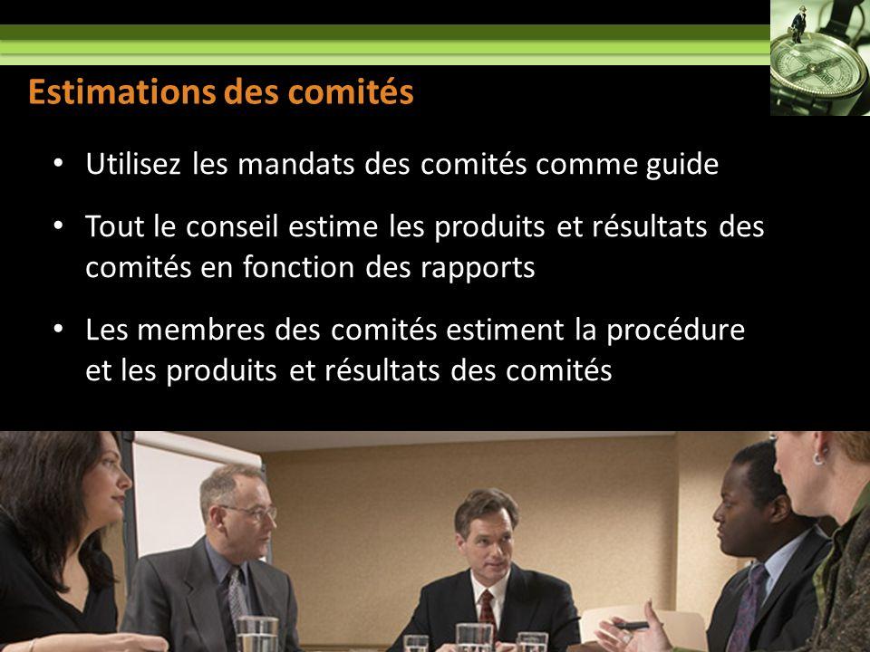 Committee Assessment Utilisez les mandats des comités comme guide Tout le conseil estime les produits et résultats des comités en fonction des rapports Les membres des comités estiment la procédure et les produits et résultats des comités 13 Estimations des comités
