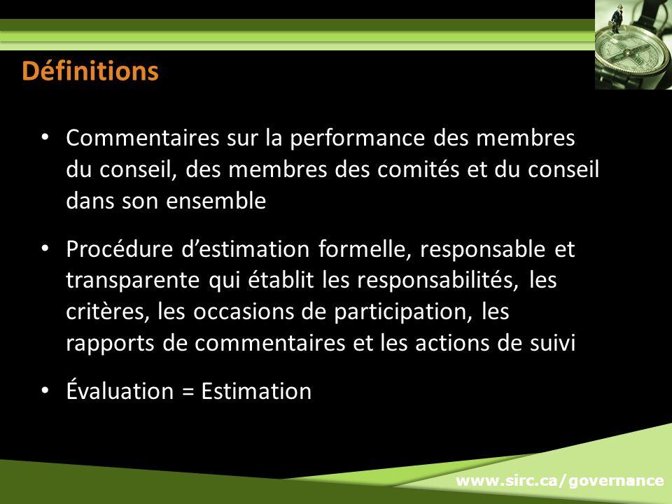 www.sirc.ca/governance Definitions Commentaires sur la performance des membres du conseil, des membres des comités et du conseil dans son ensemble Procédure destimation formelle, responsable et transparente qui établit les responsabilités, les critères, les occasions de participation, les rapports de commentaires et les actions de suivi Évaluation = Estimation 3 Définitions