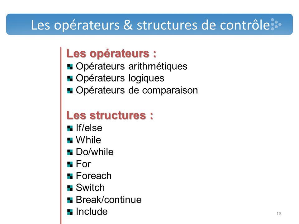 Les opérateurs & structures de contrôle Les opérateurs : Opérateurs arithmétiques Opérateurs logiques Opérateurs de comparaison Les structures : If/el