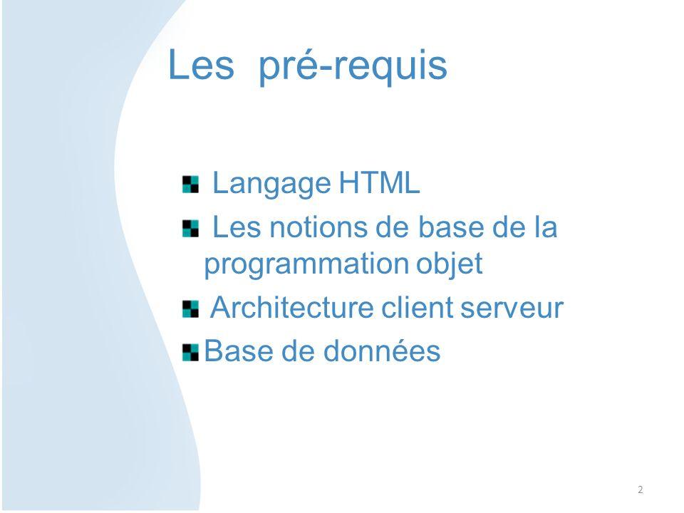 1- Suivre lhistorique et lévolution de la programmation orientée web 2- Initiation aux langages web de base 3- Comprendre le fonctionnement interne des pages web 4- Se préparer au projet de fin de semestre Objectifs du cours 3