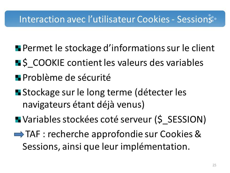 Interaction avec lutilisateur Cookies - Sessions Permet le stockage dinformations sur le client $_COOKIE contient les valeurs des variables Problème d