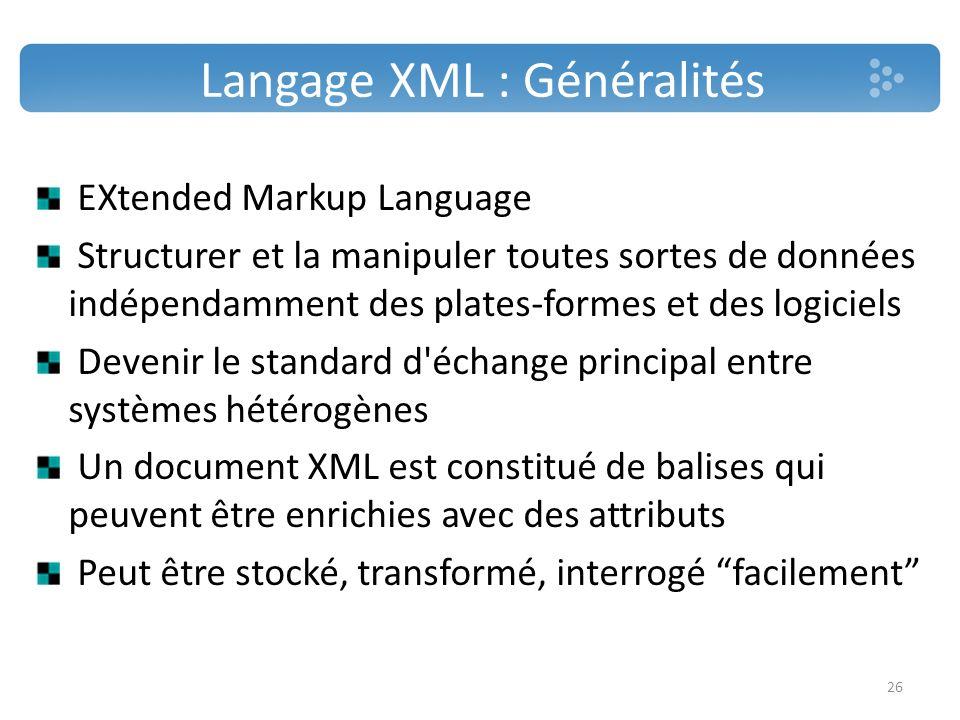 Langage XML : Généralités EXtended Markup Language Structurer et la manipuler toutes sortes de données indépendamment des plates-formes et des logicie