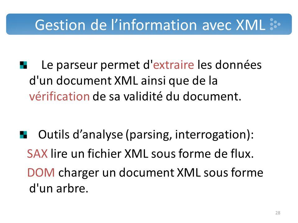 Gestion de linformation avec XML Le parseur permet d'extraire les données d'un document XML ainsi que de la vérification de sa validité du document. O