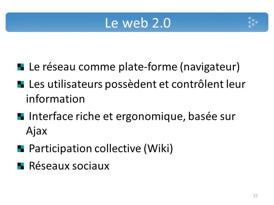 Le web 2.0 Le réseau comme plate-forme (navigateur) Les utilisateurs possèdent et contrôlent leur information Interface riche et ergonomique, basée su