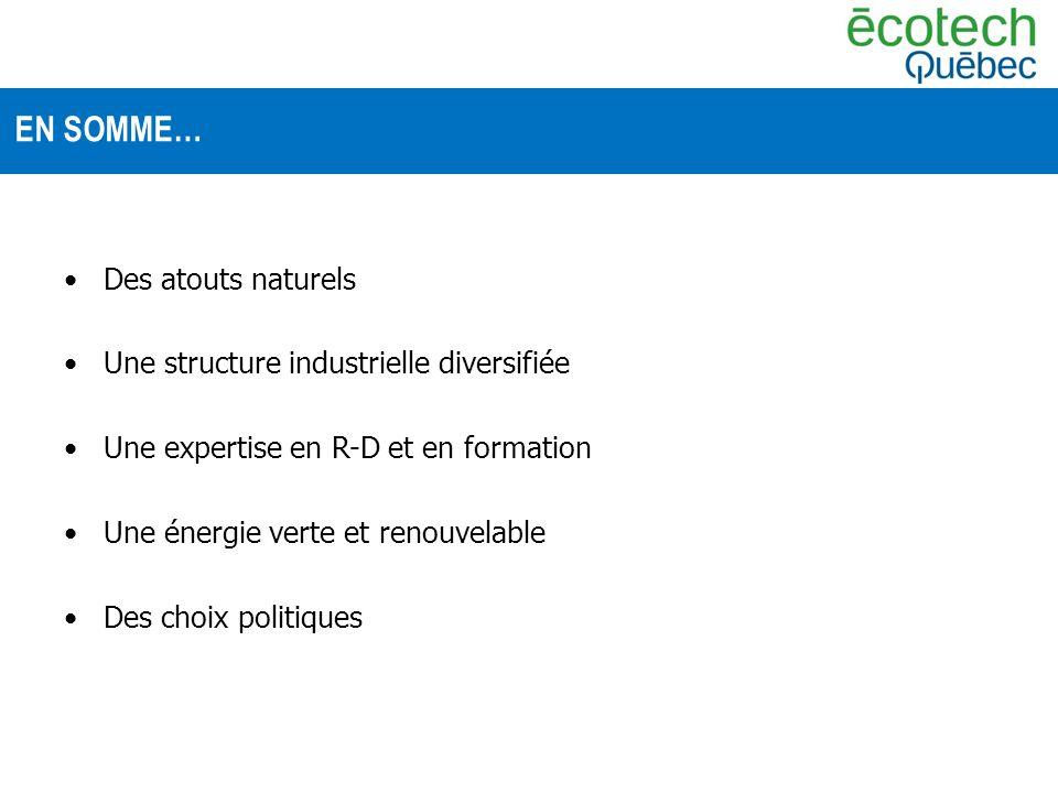 Des atouts naturels Une structure industrielle diversifiée Une expertise en R-D et en formation Une énergie verte et renouvelable Des choix politiques EN SOMME…
