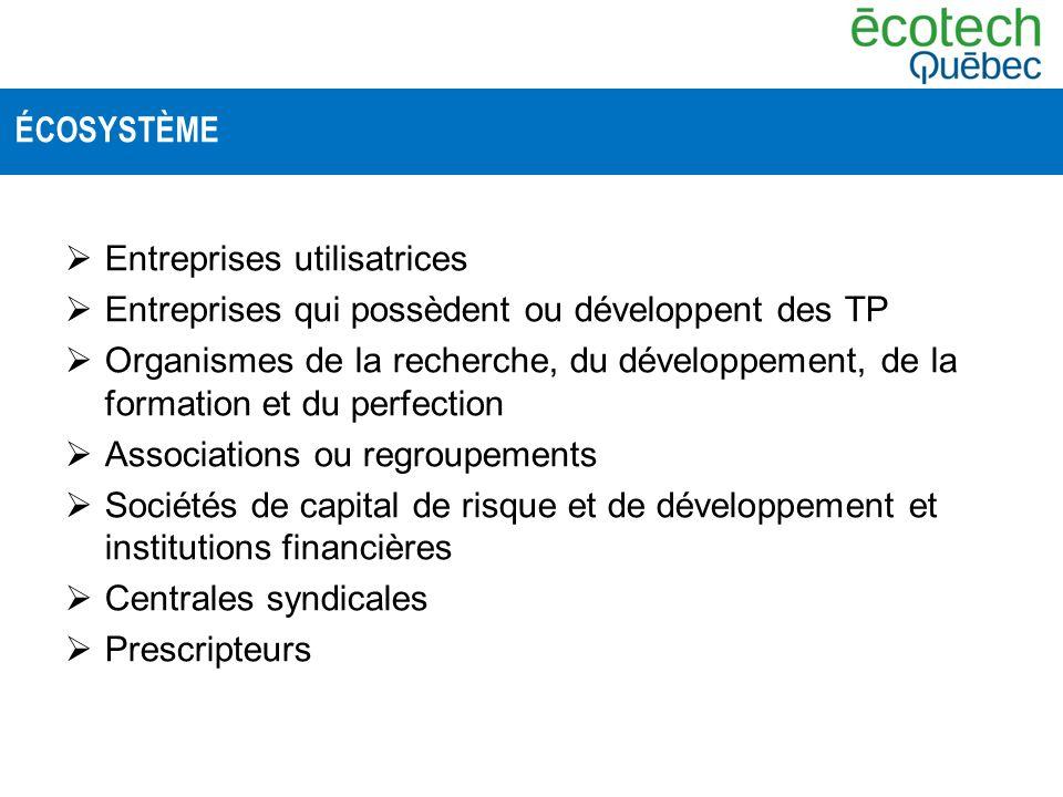 Entreprises utilisatrices Entreprises qui possèdent ou développent des TP Organismes de la recherche, du développement, de la formation et du perfecti