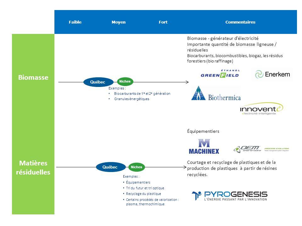FaibleMoyenFortCommentaires Biomasse Biomasse - générateur délectricité Importante quantité de biomasse ligneuse / résiduelles Biocarburants, biocombu
