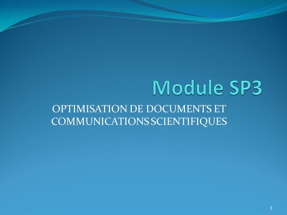 OPTIMISATION DE DOCUMENTS ET COMMUNICATIONS SCIENTIFIQUES 1