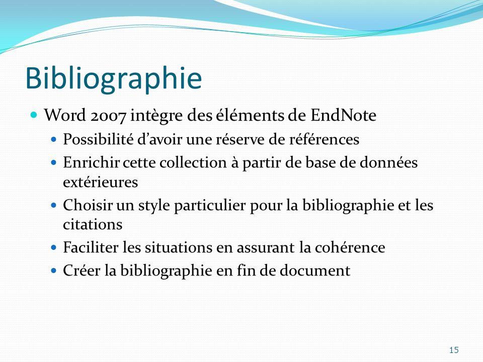 Bibliographie Word 2007 intègre des éléments de EndNote Possibilité davoir une réserve de références Enrichir cette collection à partir de base de don