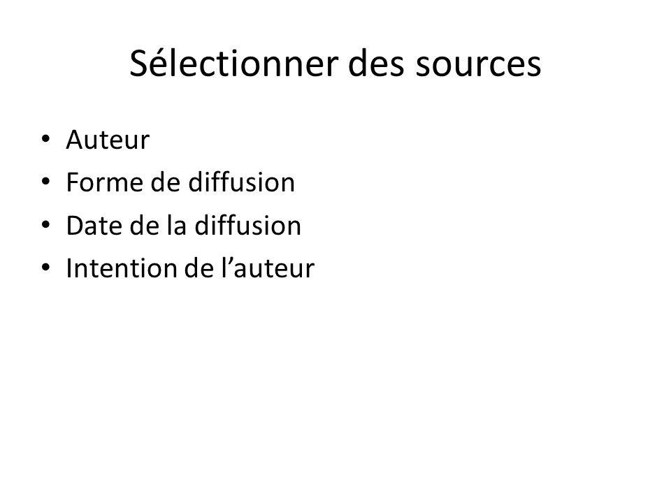 Sélectionner des sources Auteur Forme de diffusion Date de la diffusion Intention de lauteur