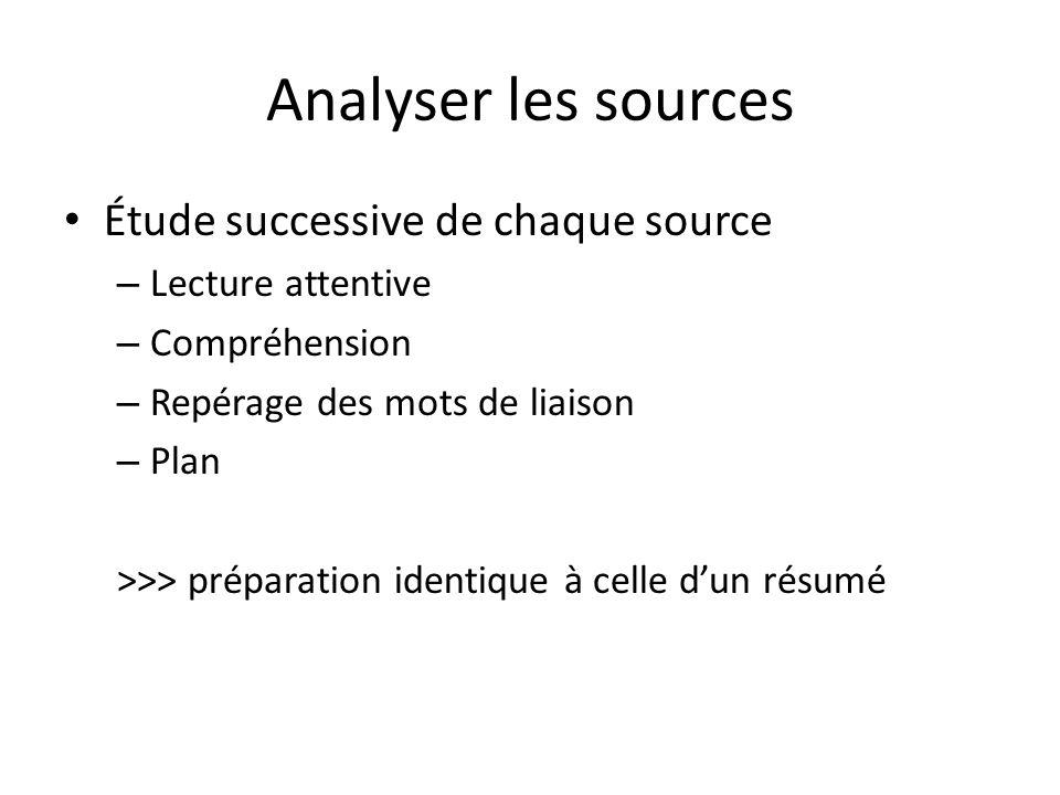 Analyser les sources Étude successive de chaque source – Lecture attentive – Compréhension – Repérage des mots de liaison – Plan >>> préparation identique à celle dun résumé