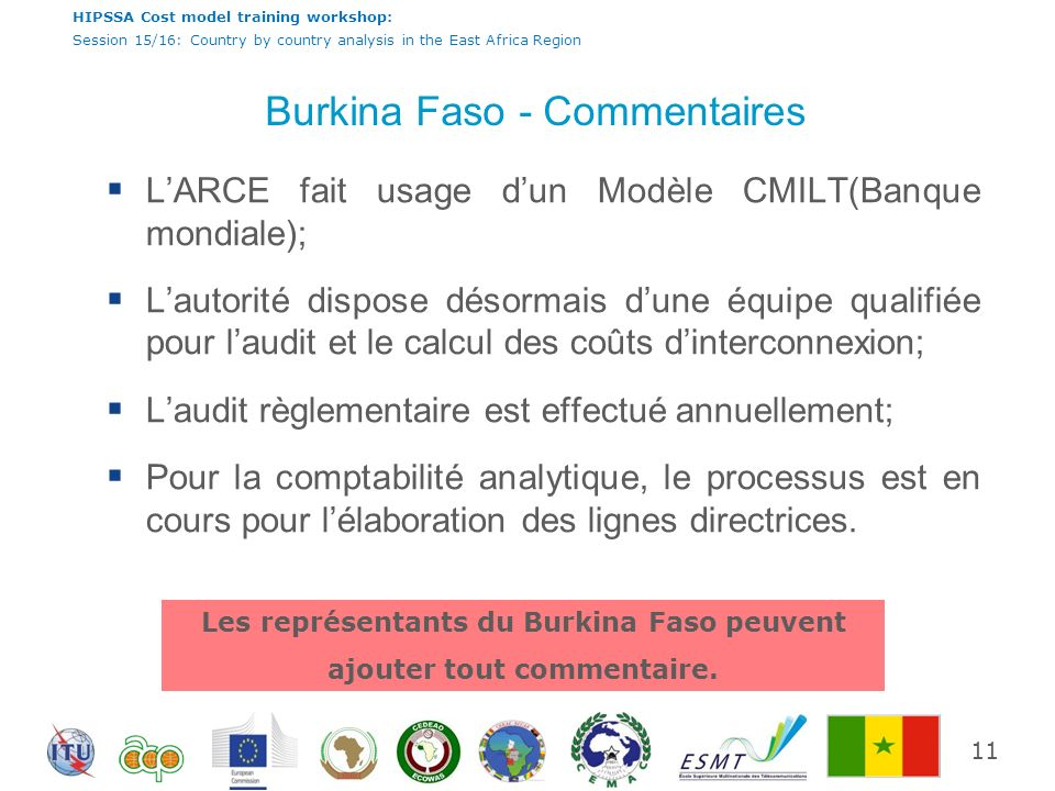 HIPSSA Cost model training workshop: Session 15/16: Country by country analysis in the East Africa Region Burkina Faso - Commentaires LARCE fait usage