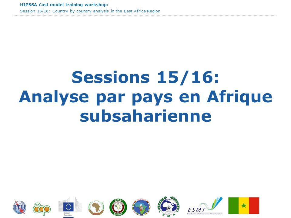 HIPSSA Cost model training workshop: Session 15/16: Country by country analysis in the East Africa Region Cote dIvoire - Commentaires Un nouveau code a été élaboré en Côte dIvoire; Le cadre règlementaire intègre lorientation vers les coûts et le plafonnement des prix; Un modèle Bottom up est en vigueur pour l établissement des coûts; Le benchmark (sur 18 pays) est utilisé comme outil complémentaire ; Lannuité est la méthode d amortissement utilisée en Côte dIvoire.