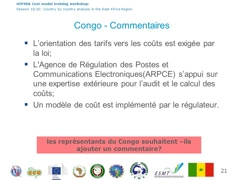 HIPSSA Cost model training workshop: Session 15/16: Country by country analysis in the East Africa Region Congo - Commentaires Lorientation des tarifs