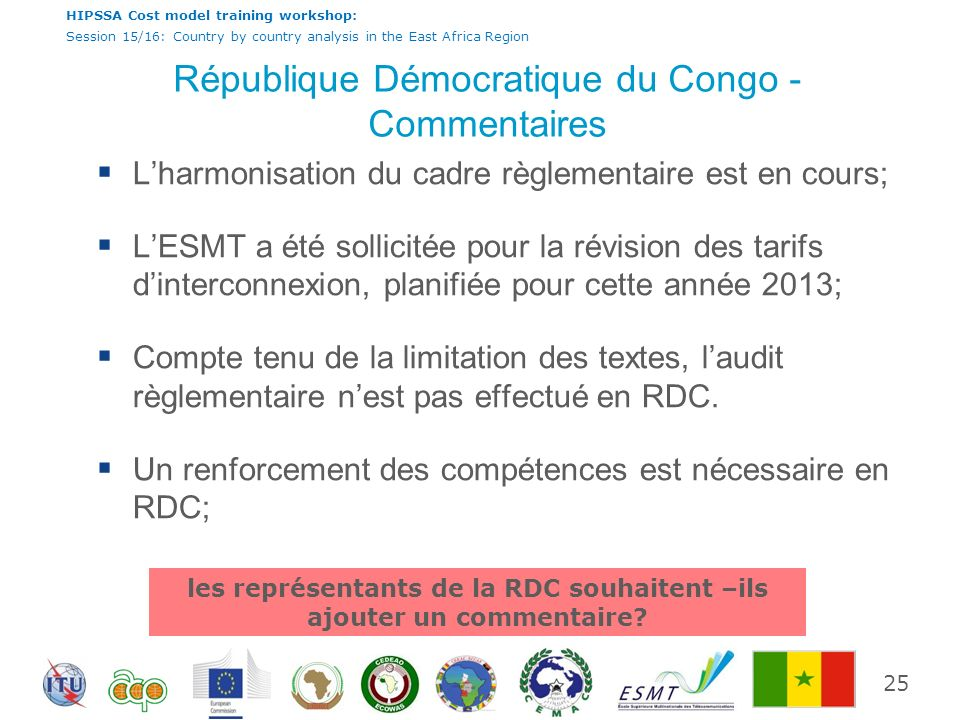 HIPSSA Cost model training workshop: Session 15/16: Country by country analysis in the East Africa Region République Démocratique du Congo - Commentai