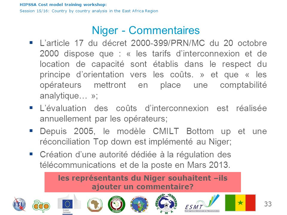 HIPSSA Cost model training workshop: Session 15/16: Country by country analysis in the East Africa Region Niger - Commentaires Larticle 17 du décret 2