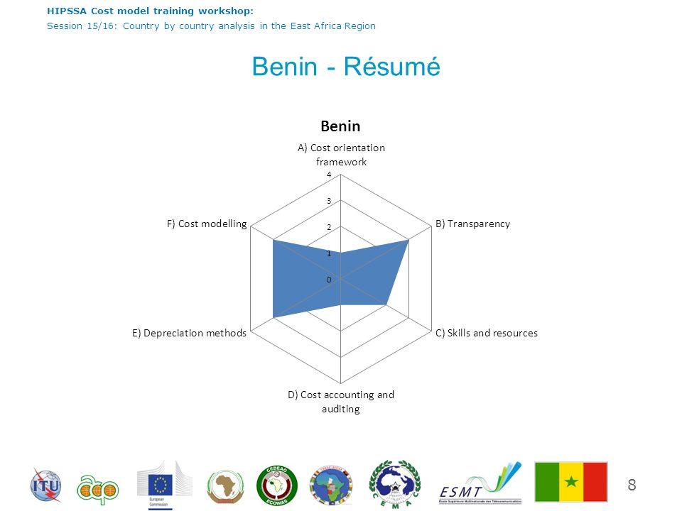 HIPSSA Cost model training workshop: Session 15/16: Country by country analysis in the East Africa Region Benin - comments Le cadre juridique du Bénin nest pas encore adopté à la comptabilisation des coûts sur la base prospective des coûts supplémentaires que la méthodologie pour la détermination des tarifs de terminaison.