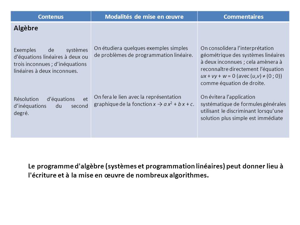 ContenusModalités de mise en œuvreCommentaires Algèbre Exemples de systèmes déquations linéaires à deux ou trois inconnues ; dinéquations linéaires à deux inconnues.