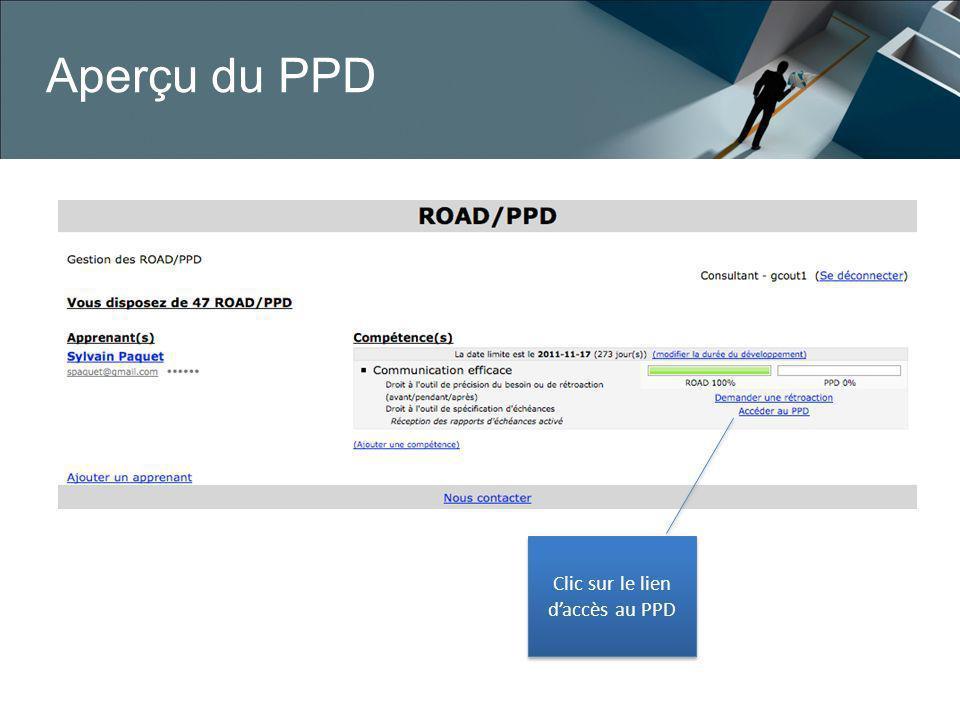 Aperçu du PPD Clic sur le lien daccès au PPD