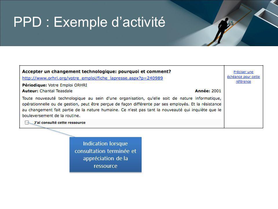 PPD : Exemple dactivité Indication lorsque consultation terminée et appréciation de la ressource