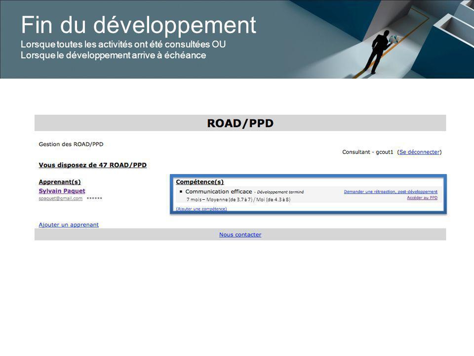 Fin du développement Lorsque toutes les activités ont été consultées OU Lorsque le développement arrive à échéance 7 mois – Moyenne (de 3.7 à 7) / Moi (de 4.3 à 8)