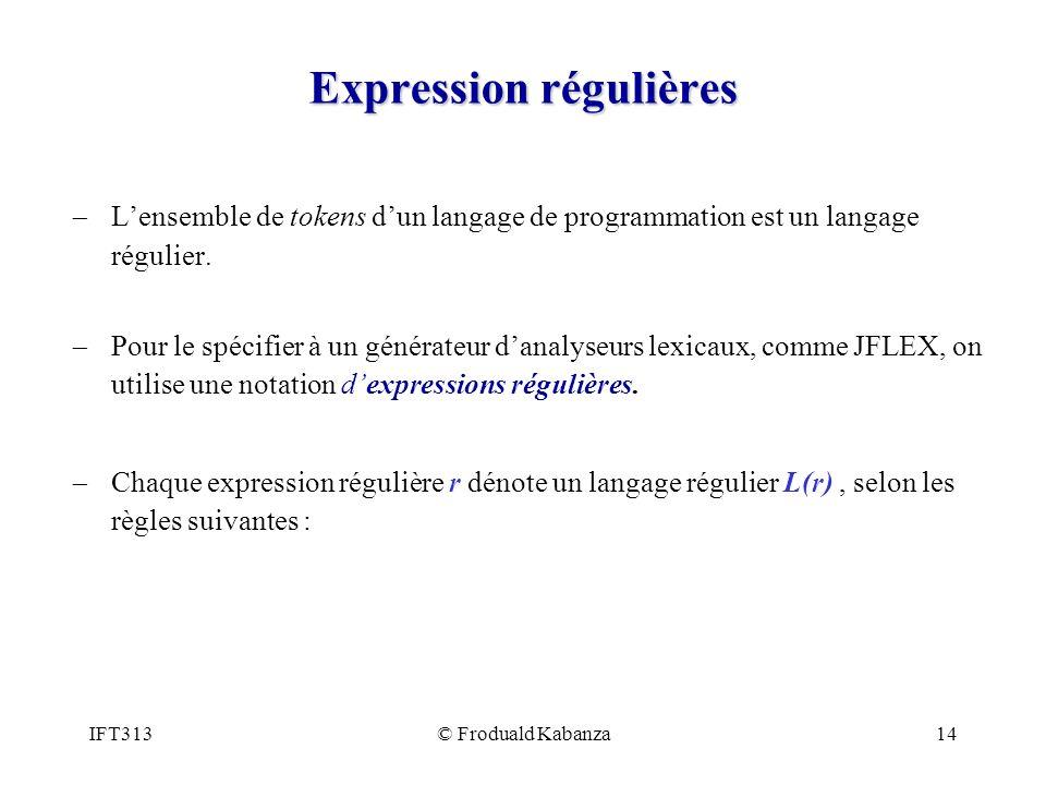 IFT313© Froduald Kabanza14 Expression régulières Lensemble de tokens dun langage de programmation est un langage régulier.