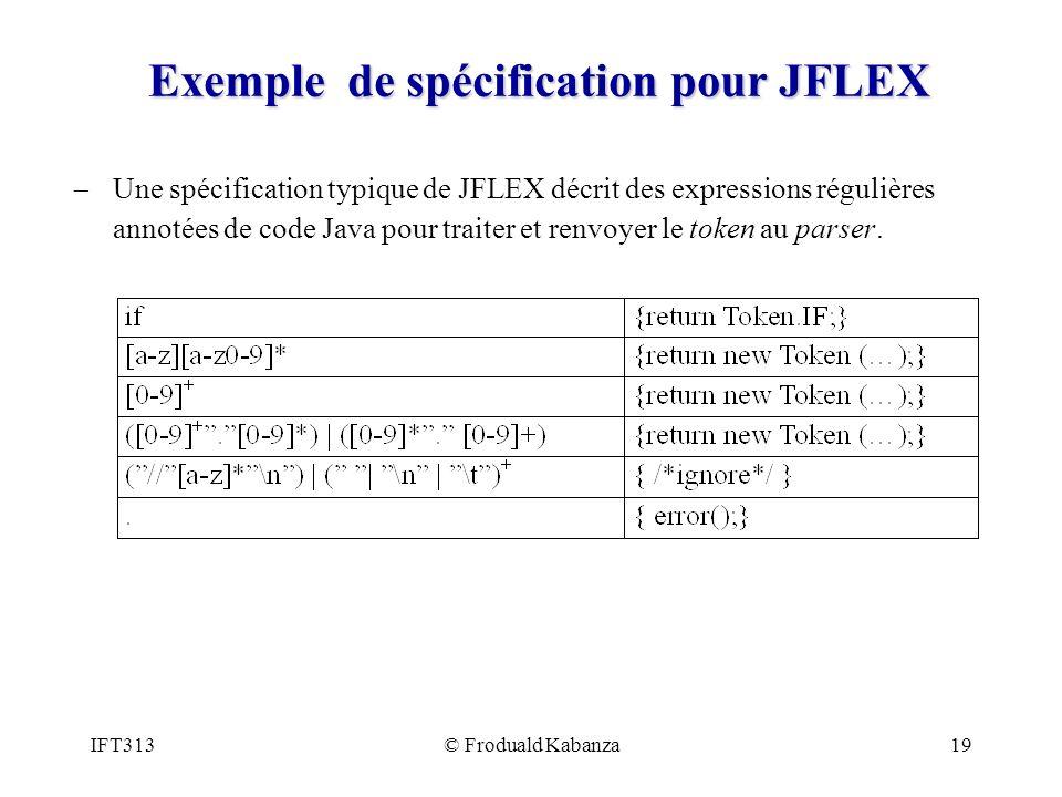 IFT313© Froduald Kabanza19 Exemple de spécification pour JFLEX Une spécification typique de JFLEX décrit des expressions régulières annotées de code Java pour traiter et renvoyer le token au parser.