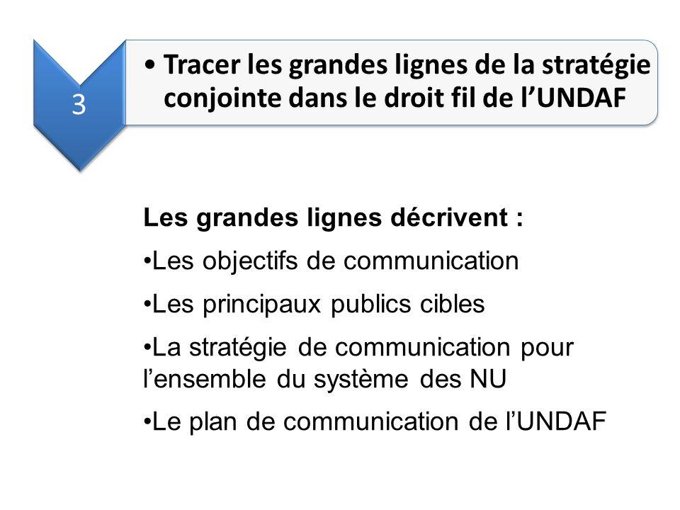 3 Tracer les grandes lignes de la stratégie conjointe dans le droit fil de lUNDAF Les grandes lignes décrivent : Les objectifs de communication Les pr