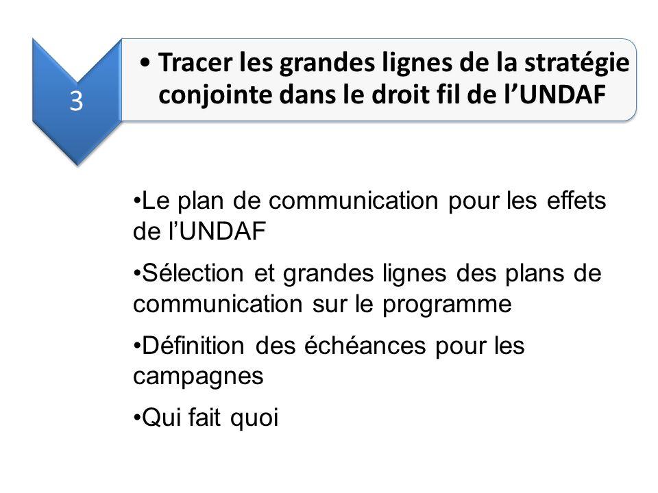 3 Tracer les grandes lignes de la stratégie conjointe dans le droit fil de lUNDAF Le plan de communication pour les effets de lUNDAF Sélection et gran