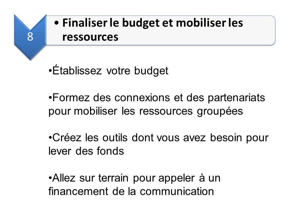 8 Finaliser le budget et mobiliser les ressources Établissez votre budget Formez des connexions et des partenariats pour mobiliser les ressources grou