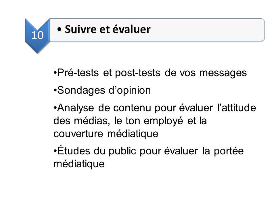 10 Suivre et évaluer Pré-tests et post-tests de vos messages Sondages dopinion Analyse de contenu pour évaluer lattitude des médias, le ton employé et