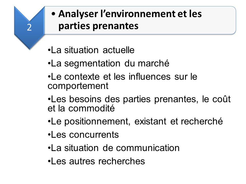 2 Analyser lenvironnement et les parties prenantes La situation actuelle La segmentation du marché Le contexte et les influences sur le comportement L
