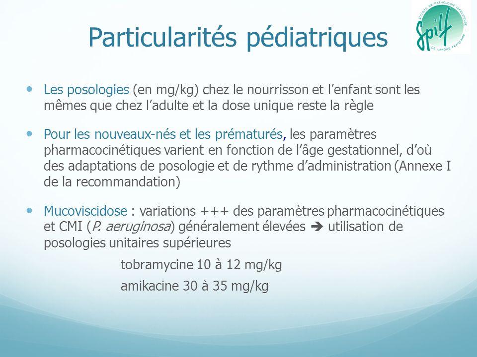 Particularités pédiatriques Les posologies (en mg/kg) chez le nourrisson et lenfant sont les mêmes que chez ladulte et la dose unique reste la règle P