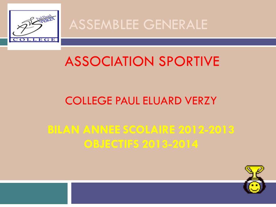 ASSEMBLEE GENERALE ASSOCIATION SPORTIVE COLLEGE PAUL ELUARD VERZY BILAN ANNEE SCOLAIRE 2012-2013 OBJECTIFS 2013-2014