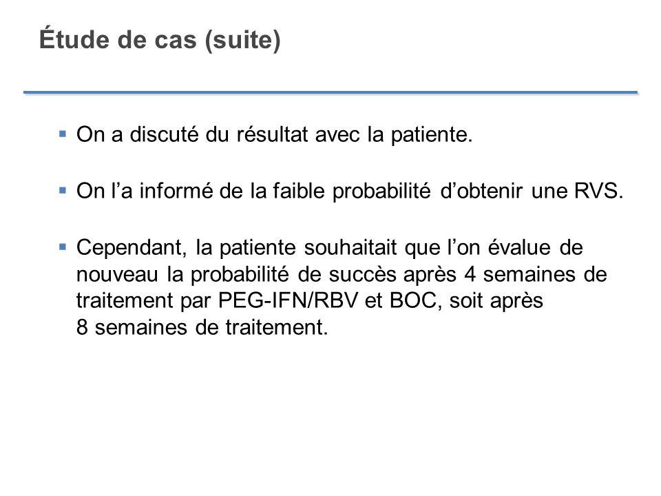Étude de cas (suite) On a discuté du résultat avec la patiente. On la informé de la faible probabilité dobtenir une RVS. Cependant, la patiente souhai