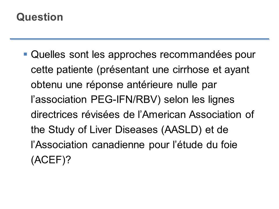 Question Quelles sont les approches recommandées pour cette patiente (présentant une cirrhose et ayant obtenu une réponse antérieure nulle par lassoci