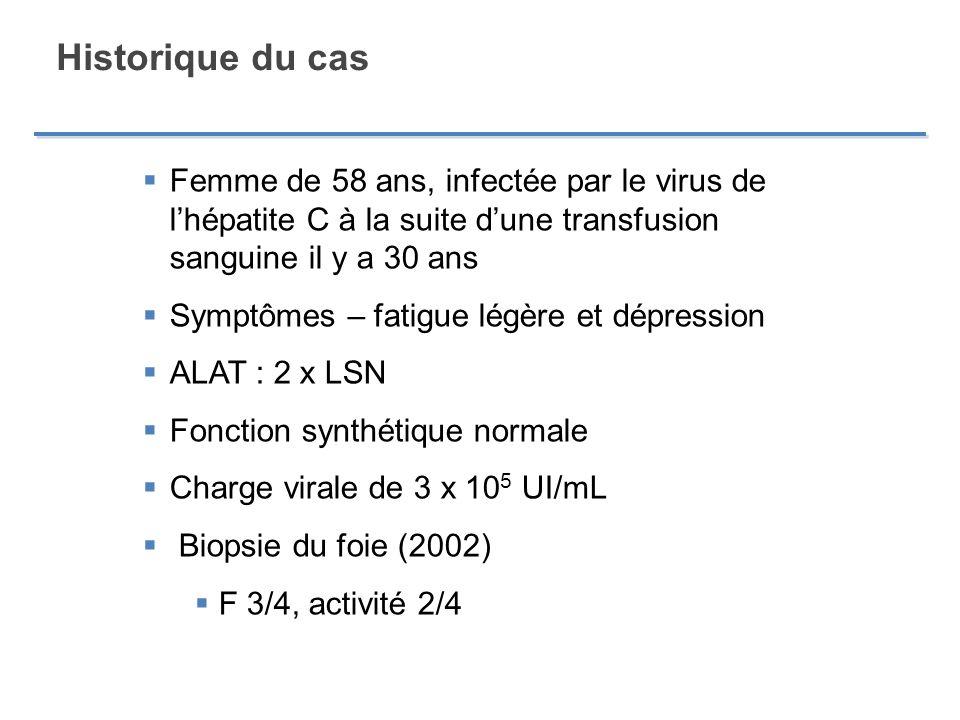 Historique du cas Traitement antérieur en 2000 par linterféron péguylé et la ribavirine Baisse de < 1 log à la sem.