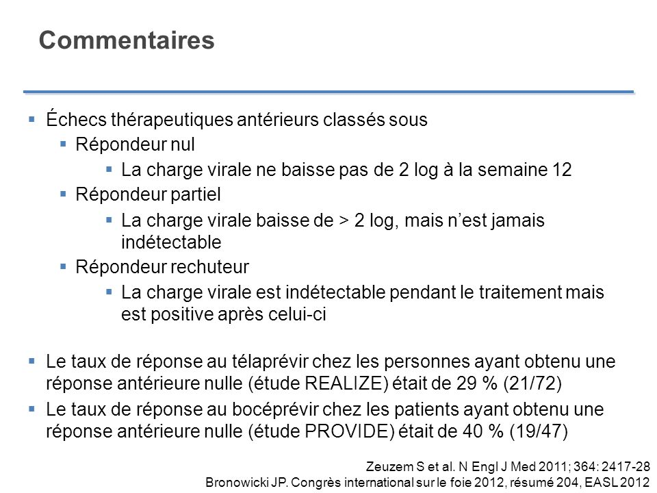Commentaires Probabilité de réponse chez un patient atteint de fibrose de stade F3 ou F4 et ayant déjà subi un échec au traitement (48 semaines de traitement) TélaprévirBocéprévir %n%n Répondeur rechuteur 8748/558315/18 Répondeur partiel3411/32466/13 Répondeur nul147/50-- Bruno, S., Boceprevir in Addition to Standard of Care Enhanced SVR in Hepatitis C Virus Genotype-1 With Advanced Fibrosis/Cirrhosis: Subgroup Analysis of SPRINT-2 and RESPOND-2 Studies.
