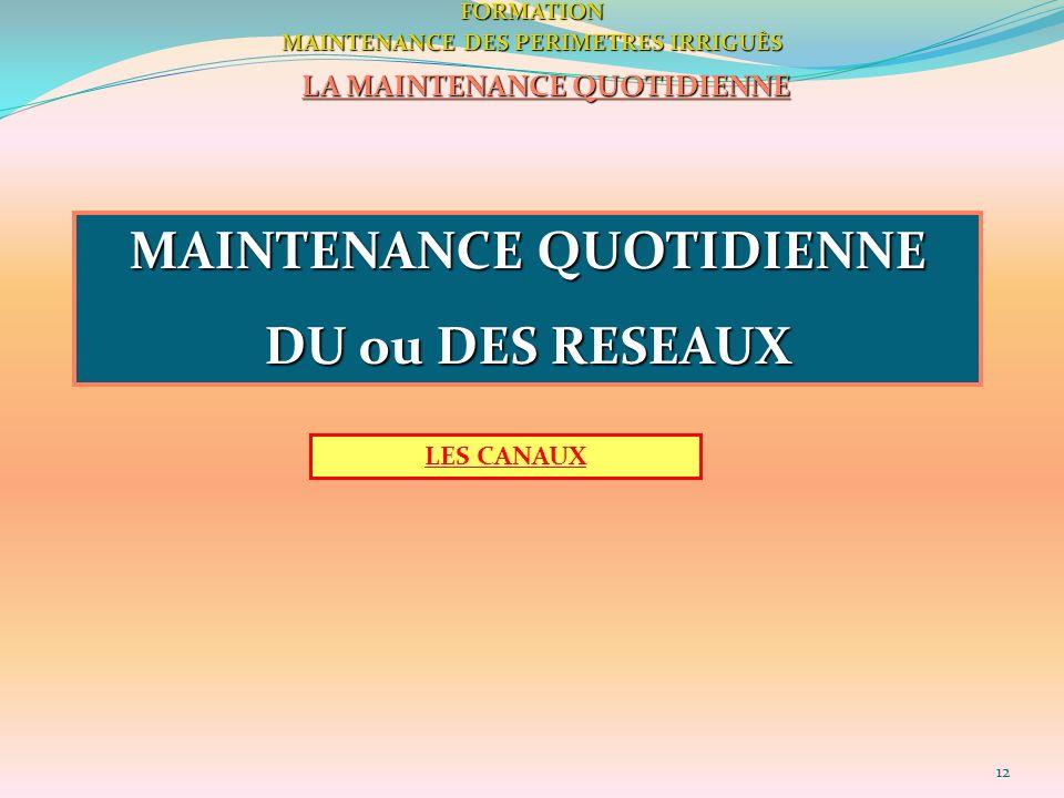 12FORMATION MAINTENANCE DES PERIMETRES IRRIGUÈS LA MAINTENANCE QUOTIDIENNE MAINTENANCE QUOTIDIENNE DU ou DES RESEAUX LES CANAUX