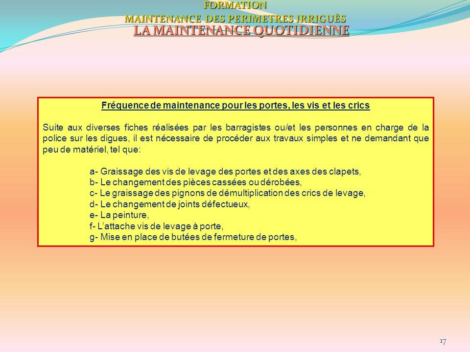 17FORMATION MAINTENANCE DES PERIMETRES IRRIGUÈS LA MAINTENANCE QUOTIDIENNE Fréquence de maintenance pour les portes, les vis et les crics Suite aux di