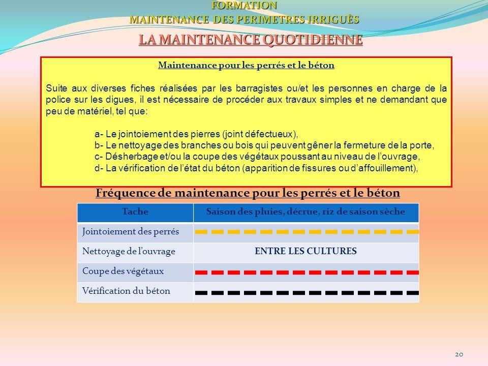 20FORMATION MAINTENANCE DES PERIMETRES IRRIGUÈS LA MAINTENANCE QUOTIDIENNE Maintenance pour les perrés et le béton Suite aux diverses fiches réalisées