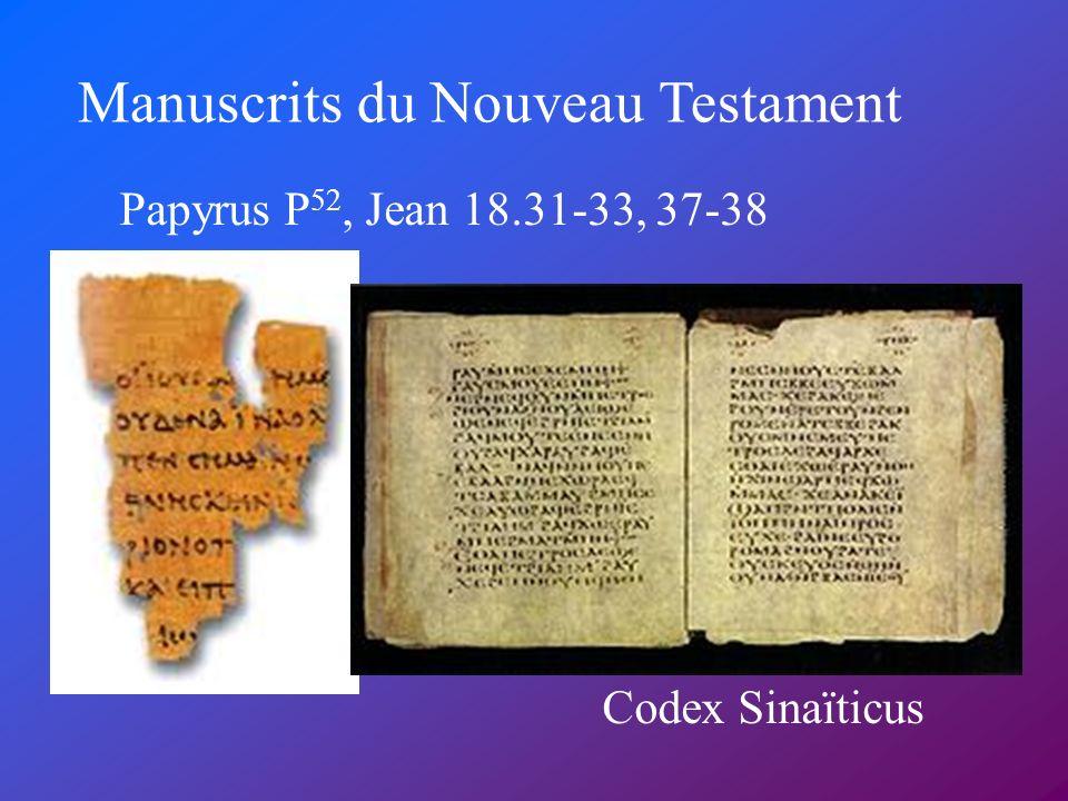 Manuscrits du Nouveau Testament Papyrus P 52, Jean 18.31-33, 37-38 Codex Sinaïticus