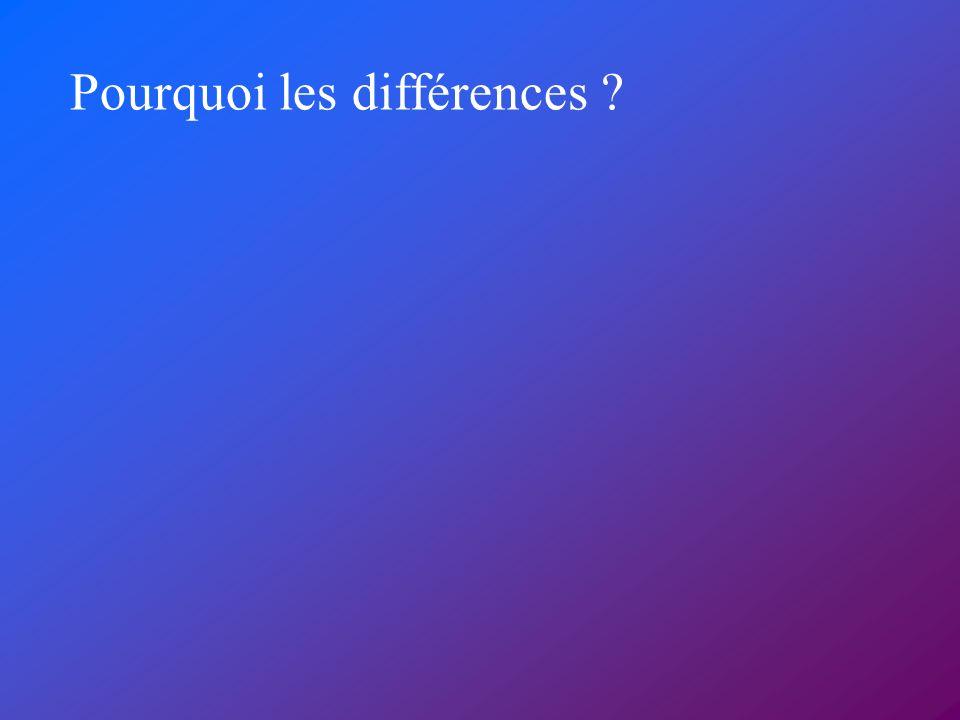 Pourquoi les différences ?