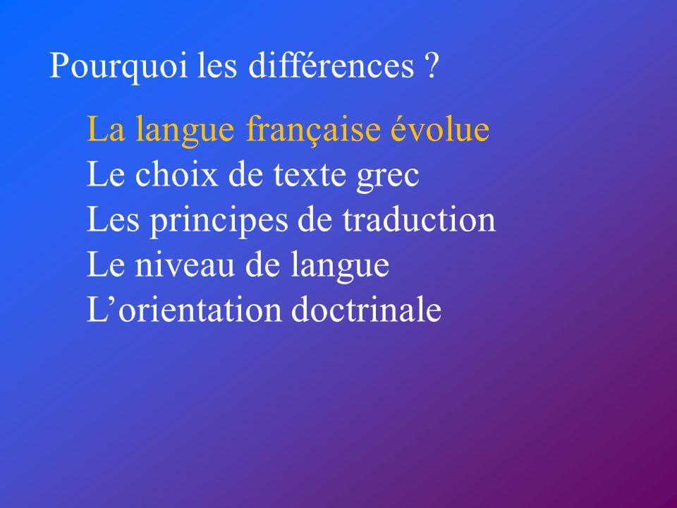 La langue française évolue Le choix de texte grec Les principes de traduction Le niveau de langue Lorientation doctrinale