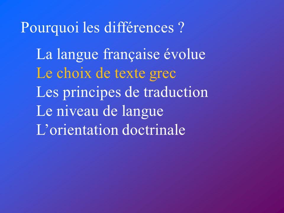 Pourquoi les différences ? La langue française évolue Le choix de texte grec Les principes de traduction Le niveau de langue Lorientation doctrinale