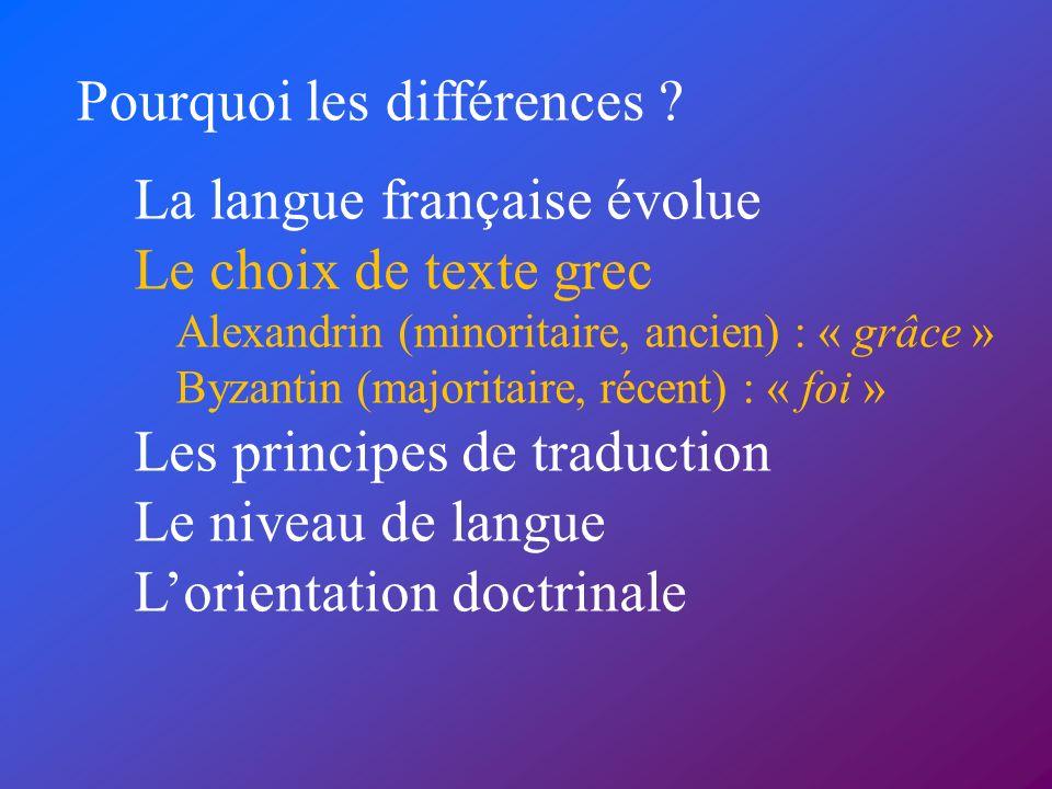Pourquoi les différences ? La langue française évolue Le choix de texte grec Alexandrin (minoritaire, ancien) : « grâce » Byzantin (majoritaire, récen