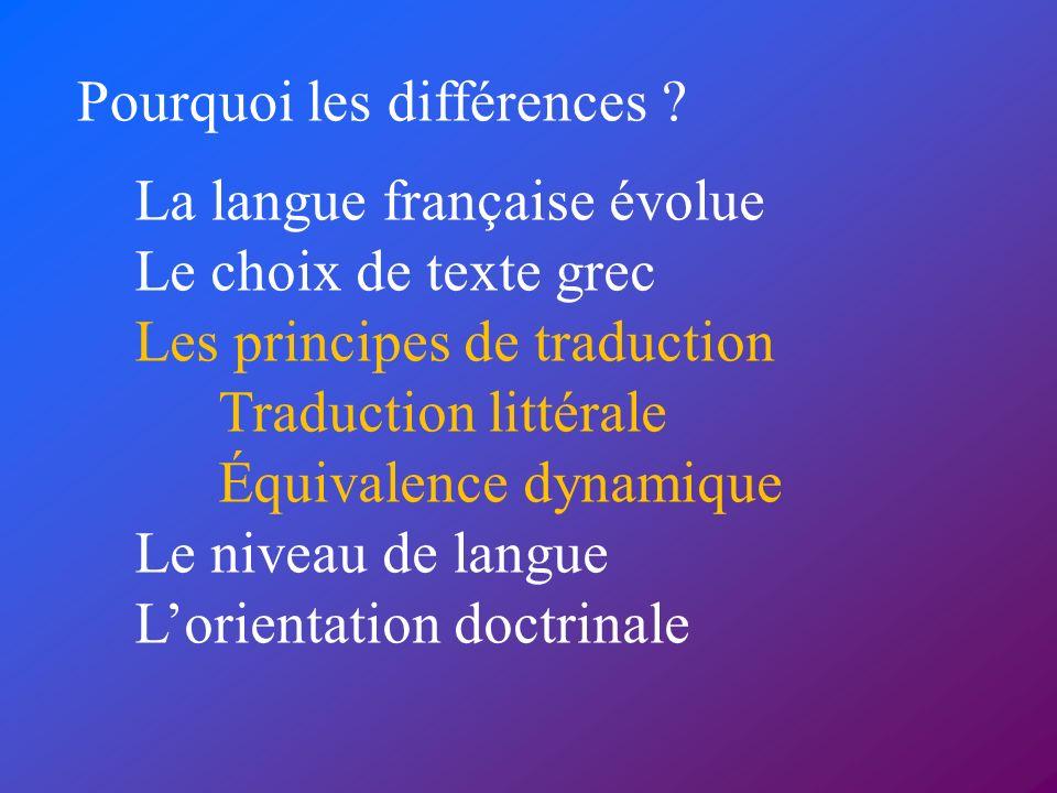 Pourquoi les différences ? La langue française évolue Le choix de texte grec Les principes de traduction Traduction littérale Équivalence dynamique Le