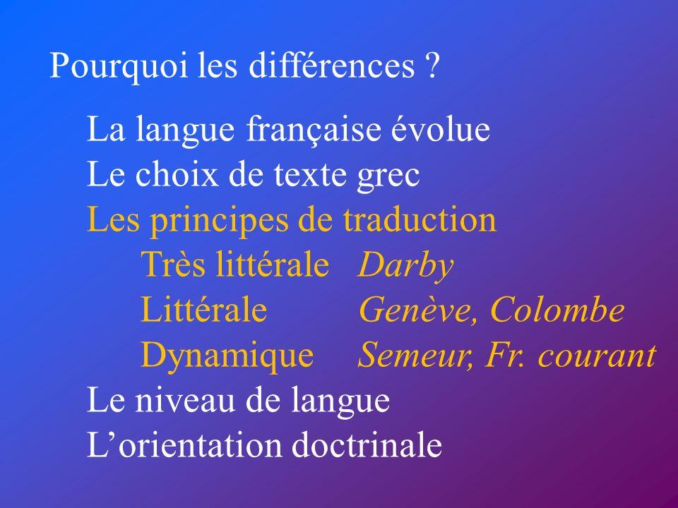 Pourquoi les différences ? La langue française évolue Le choix de texte grec Les principes de traduction Très littéraleDarby LittéraleGenève, Colombe