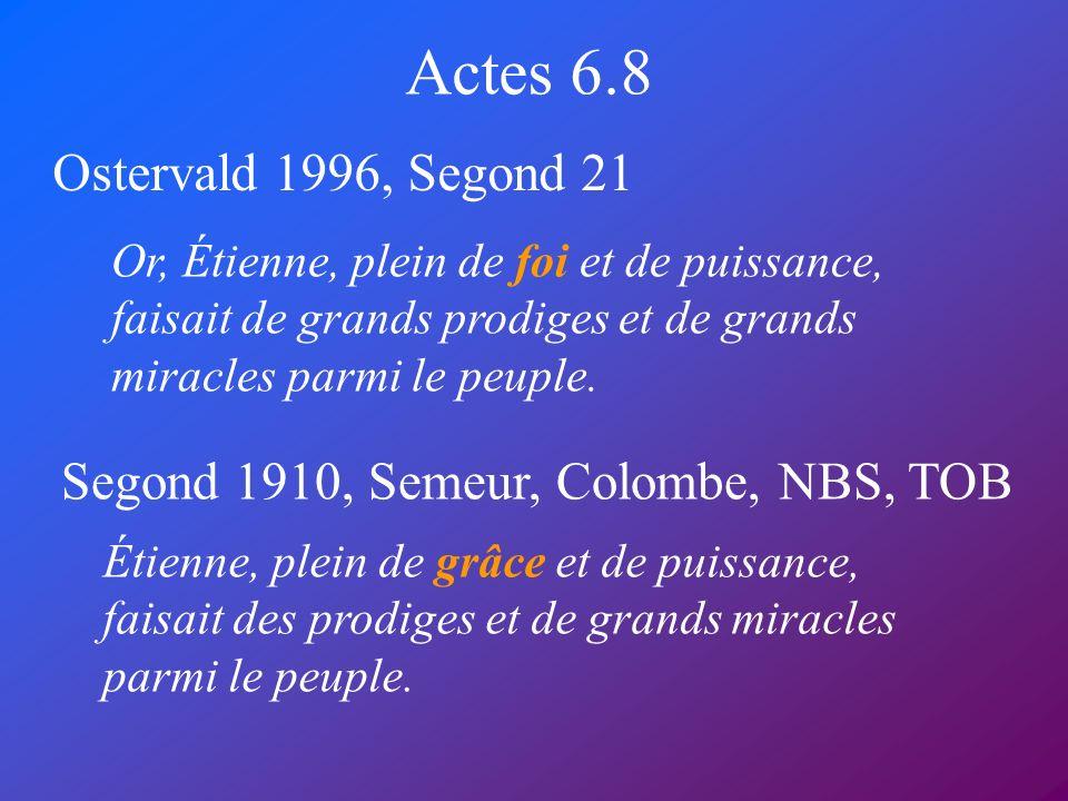 Actes 6.8 Ostervald 1996, Segond 21 Segond 1910, Semeur, Colombe, NBS, TOB Or, Étienne, plein de foi et de puissance, faisait de grands prodiges et de