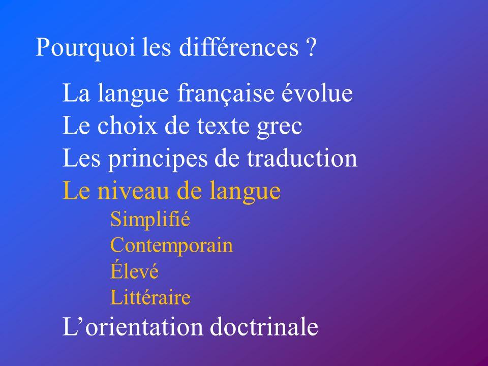 Pourquoi les différences ? La langue française évolue Le choix de texte grec Les principes de traduction Le niveau de langue Simplifié Contemporain Él